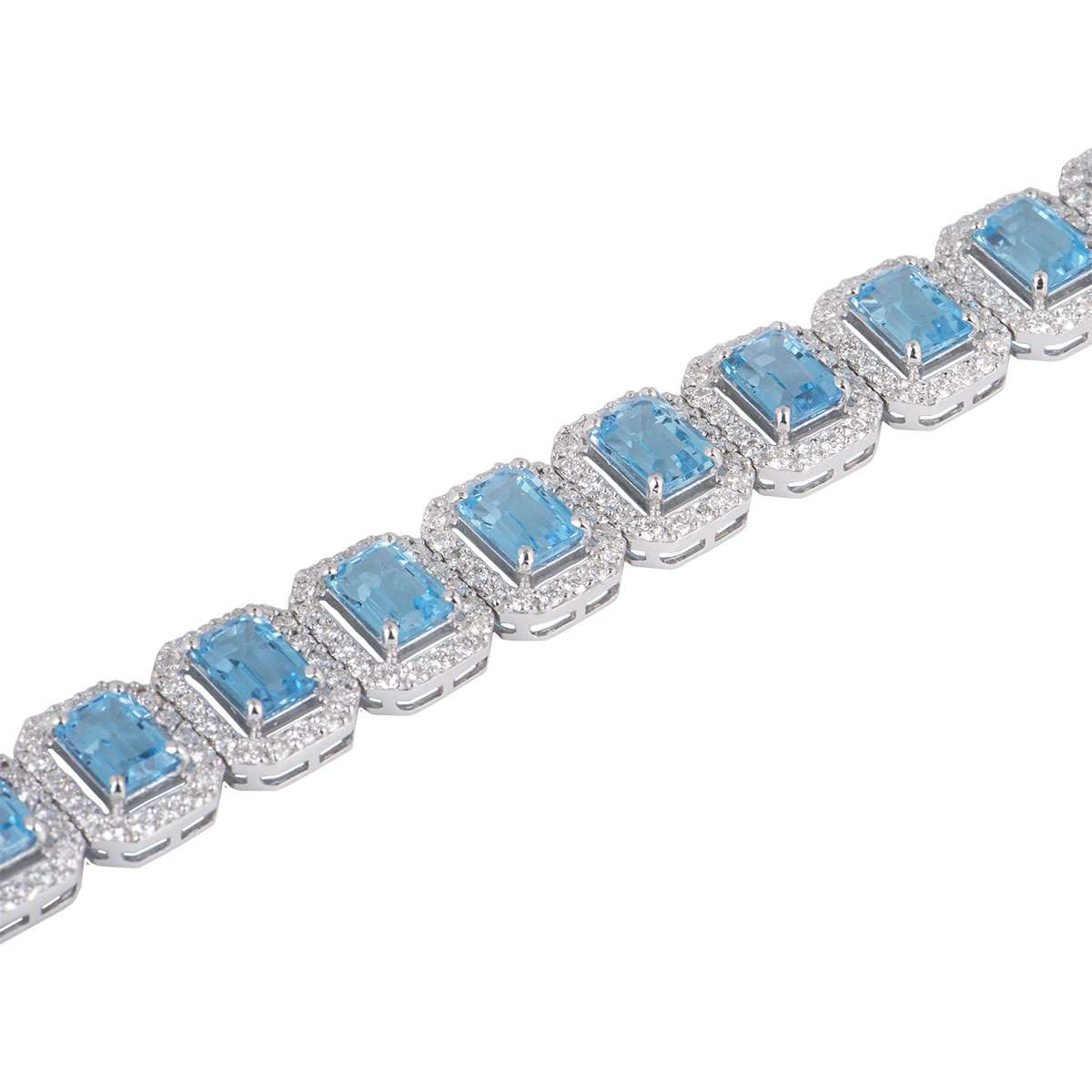 White Gold Topaz and Diamond Bracelet